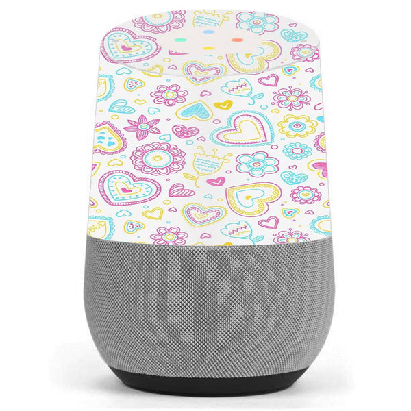 Hearts Doodles Shape Design Google Home Skin