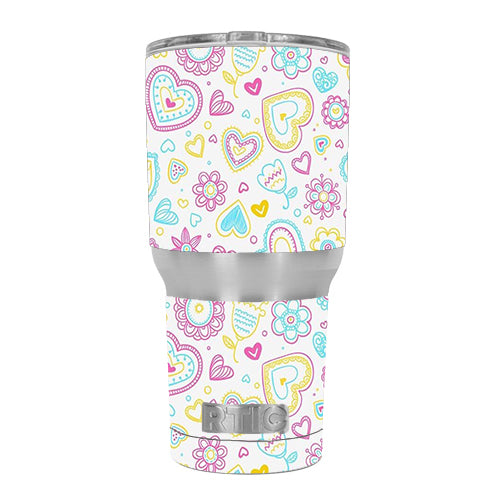 Hearts Doodles Shape Design RTIC 20oz Tumbler Skin