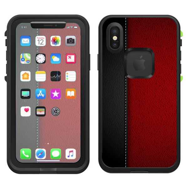 new concept 6c53f 5a8a4 Black And Red Leather Pattern Lifeproof Fre Case iPhone X Skin