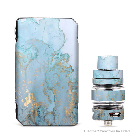 Teal Blue Gold White Marble Granite VooPoo Drag Mini Skin