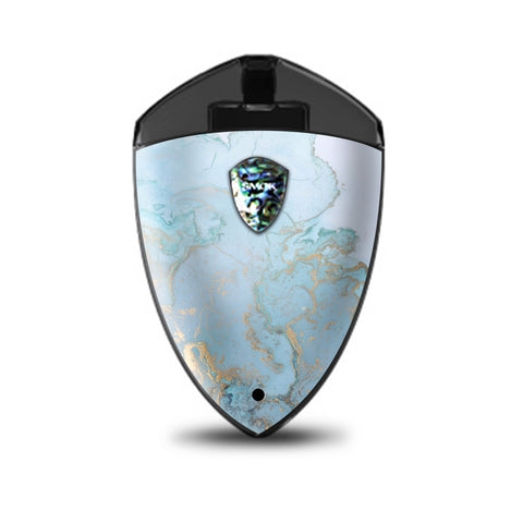 Teal Blue Gold White Marble Granite Smok Rolo Badge Skin