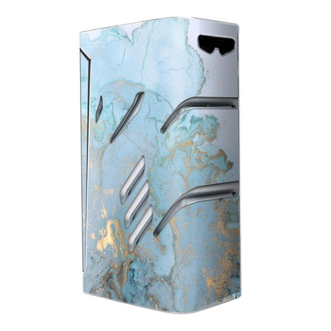 Teal Blue Gold White Marble Granite Smok T-Priv Skin