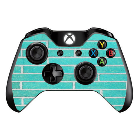 Teal Baby Blue Brick Wall Microsoft Xbox One Controller Skin