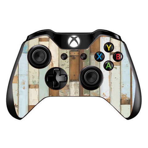 Beach Wood Panels Teal White Wash Microsoft Xbox One Controller Skin