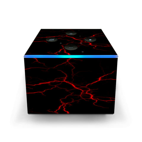Red Lightning Bolts Electric Amazon Fire TV Cube Skin