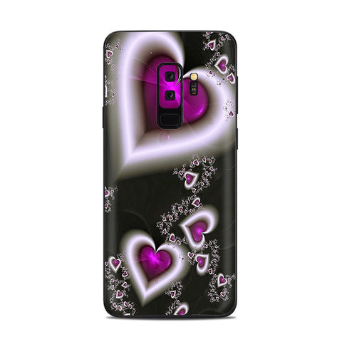 Glowing Hearts Pink White Samsung Galaxy S9 Plus Skin