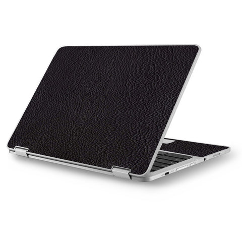 "Black Leather Pattern Look Asus Chromebook Flip 12.5"" Skin"