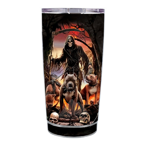 Skin Decal For Ozark Trail 20 Oz Grim Reaper Pitbull Skulls Ozark Trail 20oz Tumbler Skin