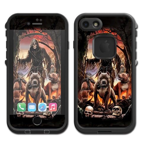 Grim Reaper Pitbull Skulls Lifeproof Fre iPhone 7 or iPhone 8 Skin