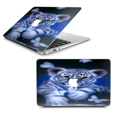 "Cute White Tiger Cub Butterflies Macbook Air 13"" A1369 A1466 Skin"