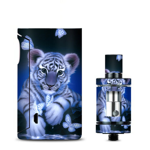 Cute White Tiger Cub Butterflies Vaporesso Drizzle Fit Skin