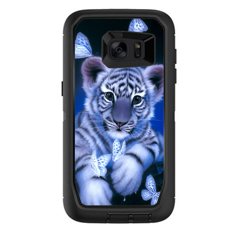 Cute White Tiger Cub Butterflies Otterbox Defender Samsung Galaxy S7 Edge Skin