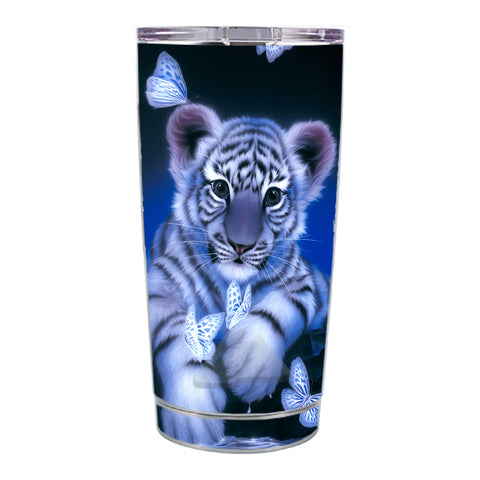 Skin Decal For Ozark Trail 20 Oz Cute White Tiger Cub Butterflies Ozark Trail 20oz Tumbler Skin