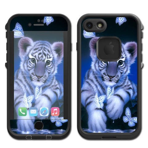 Cute White Tiger Cub Butterflies Lifeproof Fre iPhone 7 or iPhone 8 Skin