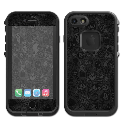 Black Sticker Slap Design Lifeproof Fre iPhone 7 or iPhone 8 Skin