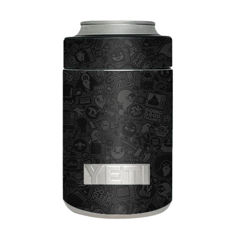 Black Sticker Slap Design Yeti Rambler Colster Skin