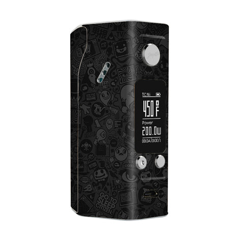 Black Sticker Slap Design Wismec Reuleaux RX200S Skin