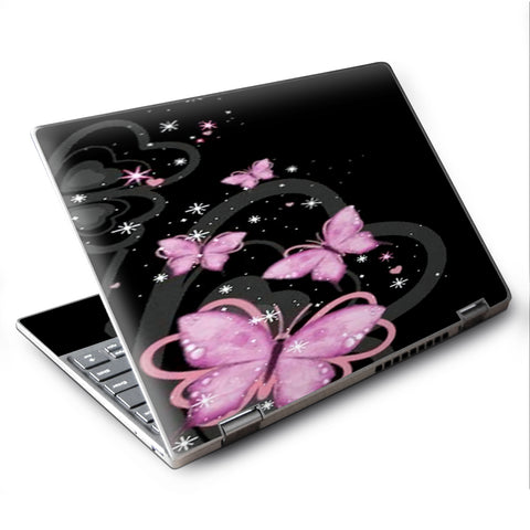 "Pink Majestic Butterflies Hearts Lenovo Yoga 710 11.6"" Skin"