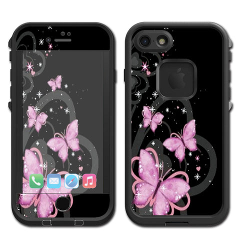 Pink Majestic Butterflies Hearts Lifeproof Fre iPhone 7 or iPhone 8 Skin