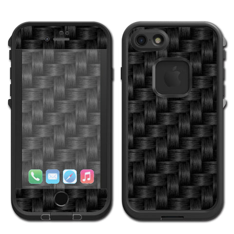 Black Grey Carbon Fiber Weave Lifeproof Fre iPhone 7 or iPhone 8 Skin