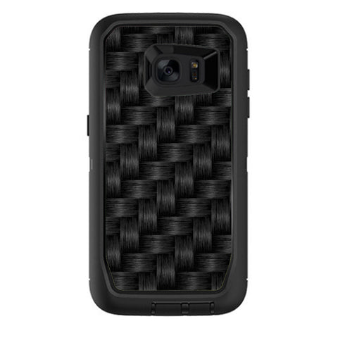 Black Grey Carbon Fiber Weave Otterbox Defender Samsung Galaxy S7 Edge Skin