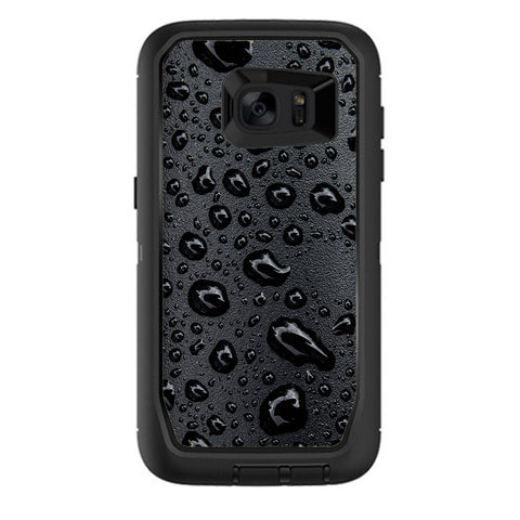 Rain Drops On Black Metal Otterbox Defender Samsung Galaxy S7 Edge Skin