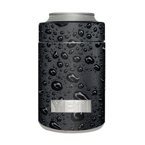 Rain Drops On Black Metal Yeti Rambler Colster Skin