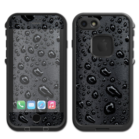 Rain Drops On Black Metal Lifeproof Fre iPhone 7 or iPhone 8 Skin