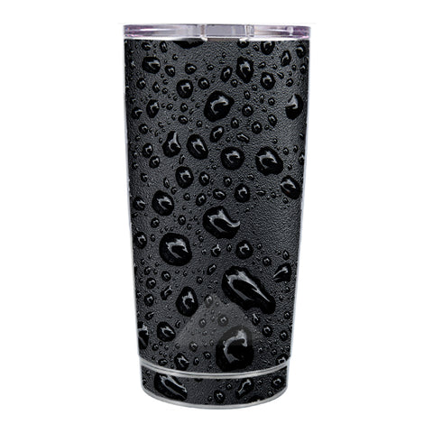 Skin Decal For Ozark Trail 20 Oz Rain Drops On Black Metal Ozark Trail 20oz Tumbler Skin