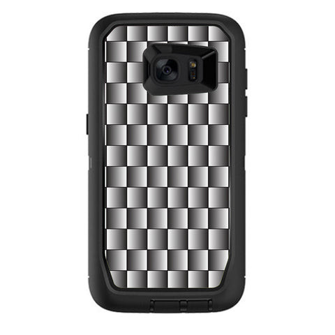 White Grey Carbon Fiber Look Otterbox Defender Samsung Galaxy S7 Edge Skin