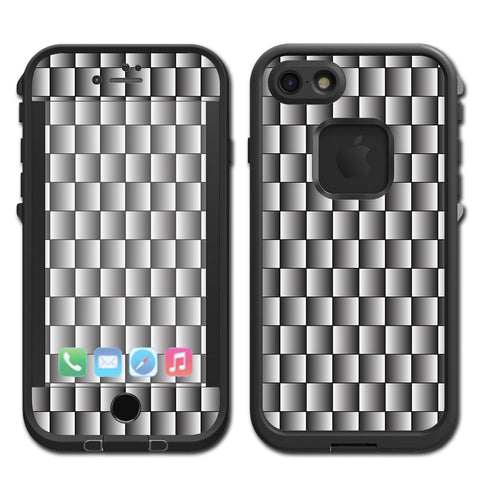 White Grey Carbon Fiber Look Lifeproof Fre iPhone 7 or iPhone 8 Skin