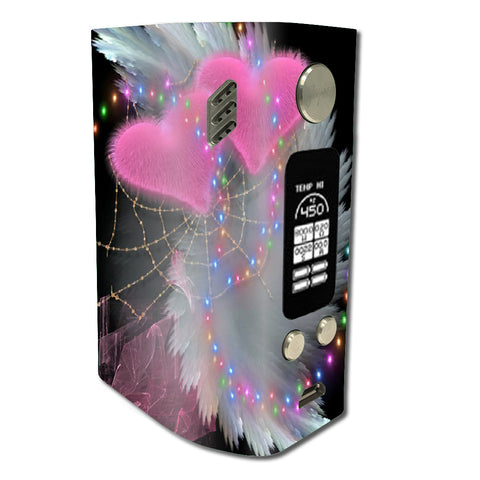 Mystic Pink Hearts Feathers Wismec Reuleaux RX300 Skin