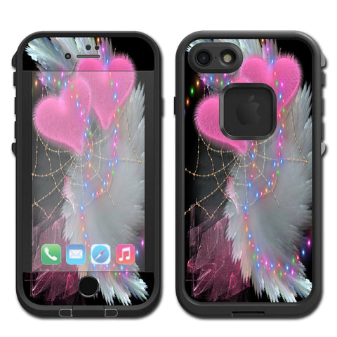 Mystic Pink Hearts Feathers Lifeproof Fre iPhone 7 or iPhone 8 Skin
