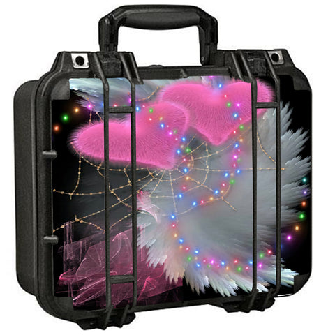 Mystic Pink Hearts Feathers Pelican Case 1400 Skin
