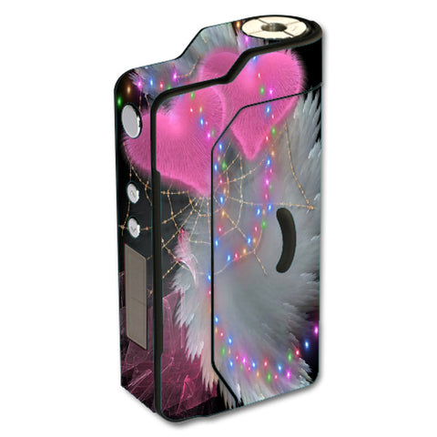 Mystic Pink Hearts Feathers Sigelei 150W TC Skin