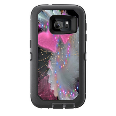 Mystic Pink Hearts Feathers Otterbox Defender Samsung Galaxy S7 Skin