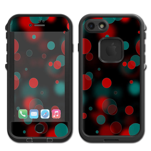 Red Blue Circles Dots Vision Lifeproof Fre iPhone 7 or iPhone 8 Skin