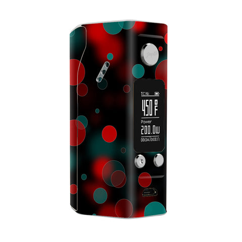Red Blue Circles Dots Vision Wismec Reuleaux RX200S Skin
