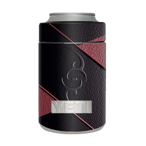 Black Red Leather Hindu Om Like Symbol Yeti Rambler Colster Skin