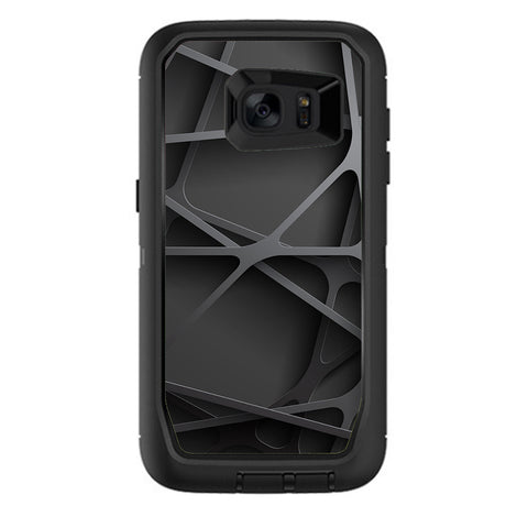 Black Metal Web Panels Otterbox Defender Samsung Galaxy S7 Edge Skin
