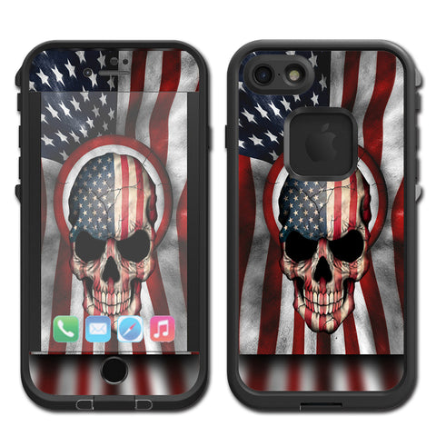 America Skull Military Usa Murica Lifeproof Fre iPhone 7 or iPhone 8 Skin