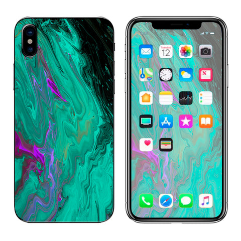 Paint Swirls Abstract Watercolor Apple iPhone X Skin