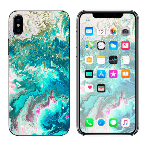 Marble Pattern Blue Ocean Green Apple iPhone X Skin