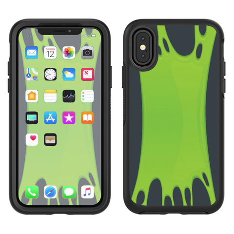 Stretched Slime Green Otterbox Defender Apple iPhone X Skin