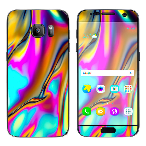 Oil Slick Resin Iridium Glass Colors Samsung Galaxy S7 Skin