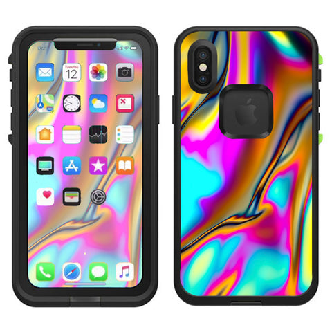 Oil Slick Resin Iridium Glass Colors Lifeproof Fre Case iPhone X Skin