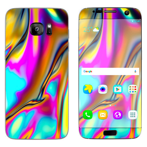Oil Slick Resin Iridium Glass Colors Samsung Galaxy S7 Edge Skin