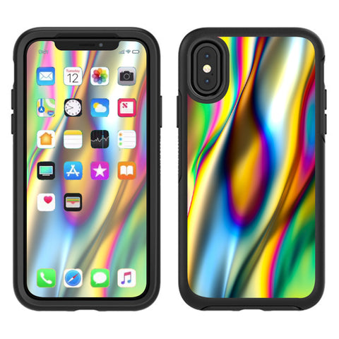 Oil Slick Rainbow Opalescent Design Awesome Otterbox Defender Apple iPhone X Skin