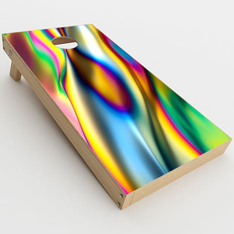 Oil Slick Rainbow Opalescent Design Awesome  Cornhole Game Board (2 pcs.) Skin