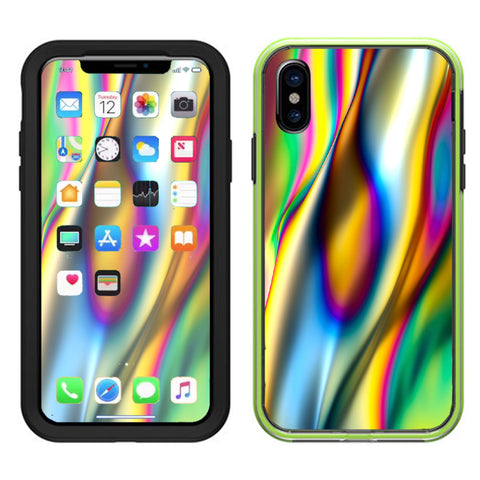 Oil Slick Rainbow Opalescent Design Awesome Lifeproof Slam Case iPhone X Skin